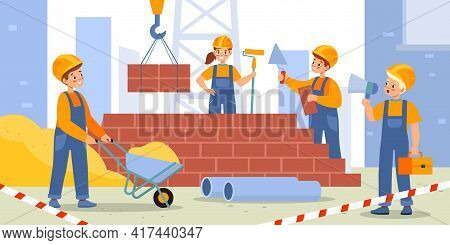 Children Build House. Kids Construction Site, Happy Boys And Girls In Workers Uniform And Helmets, Y