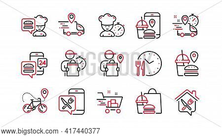 Food Delivery Line Icons. Courier, Deliveryman, Grocery Retail. Delivery Truck, Meal Bag, Home Food