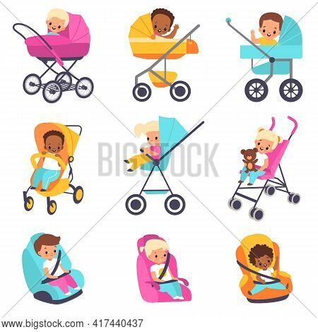 Baby Carriage. Children In Kids Strollers, Boys And Girls In Car Seats, Little Multiethnic Babies In