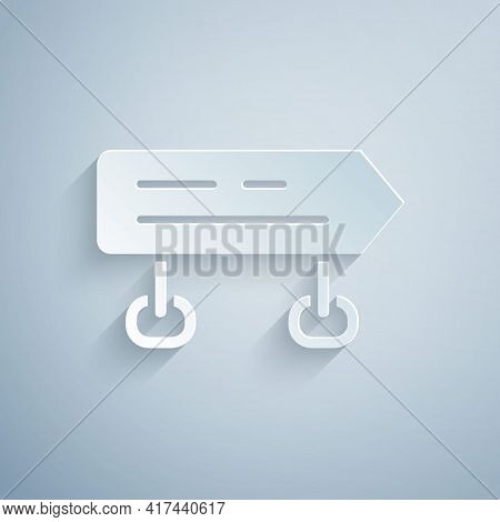 Paper Cut Road Traffic Sign. Signpost Icon Isolated On Grey Background. Pointer Symbol. Isolated Str