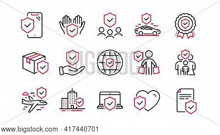 Insurance Line Icons Set. Health Care, Risk, Help Service. Car Accident, Travel Insurance, Flight Pr