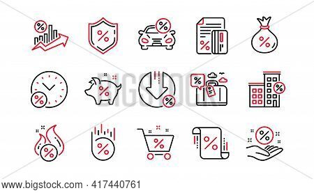 Loan Line Icons. Investment, Interest Rate And Percentage Diagram. Car Leasing Linear Icon Set. Line