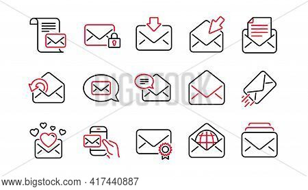 Mail Message Line Icons. Newsletter, E-mail, Correspondence. Communication Linear Icon Set. Linear S