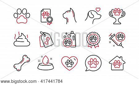 Pets Line Icons Set. Dog Care, Veterinary And Cat Food. Lovely Animals, Shampoo For Pets And Doghous