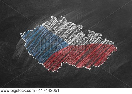 Country Map And Flag Of Czech Republic Drawing With Chalk On A Blackboard. Hand Drawn Animation. One