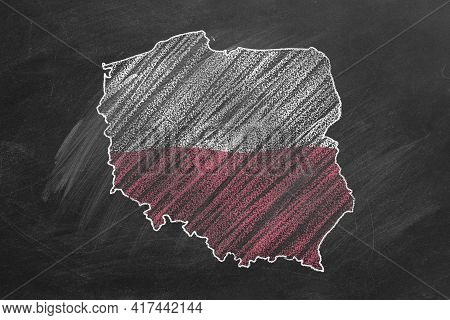 Country Map And Flag Of Poland Drawing With Chalk On A Blackboard. One Of A Large Series Of Maps And