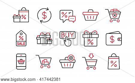 Shopping Line Icons. Gift, Percent Sign And Sale Discount. Delivery Linear Icon Set. Linear Set. Qua