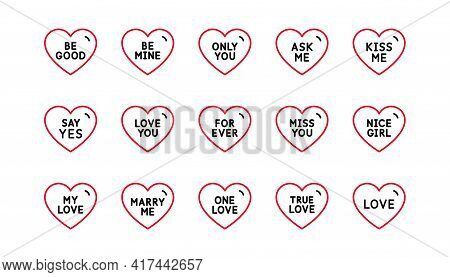 Sweet Heart Line Icons. Sweetheart For Valentines Day, Love Heart, Romantic Message. Marry Me, Kiss