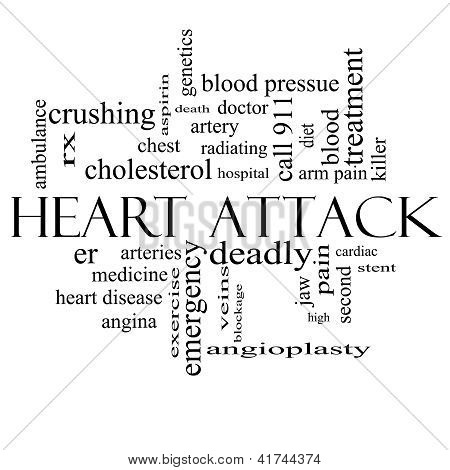 Heart Attack Word Cloud Concept in black and white with great terms such as heart disease rx artery doctor and more. poster