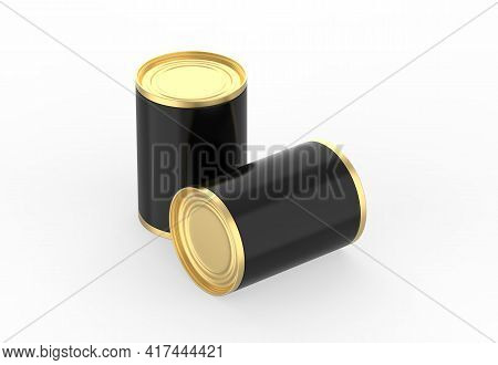 Metallic Food Tin Can Mockup Template For Fish, Beans, Meat, Corns, Peas And Vegetables. Golden Tin