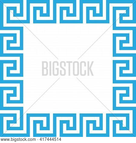 Rectangle Frame With Seamless Meander Pattern. Meandros, A Decorative Border, Constructed From Conti