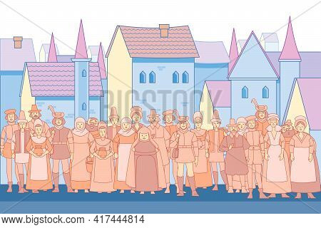 Fabulous Background With Medieval Crowd People And Medieval City. Old Town Street With Houses. Vecto