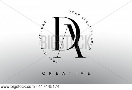 Da Letter Logo Design With Serif Typography Font And Elegant Modern Look In Black And White Colors V