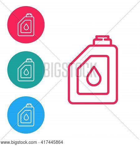 Red Line Canister For Motor Machine Oil Icon Isolated On White Background. Oil Gallon. Oil Change Se
