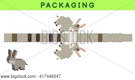 Party Favor Box Die Cut Donkey Design For Sweets, Candies, Small Presents, Bakery. Package Template,