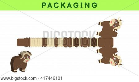 Party Favor Box Die Cut Musk-ox Design For Sweets, Candies, Small Presents, Bakery. Package Template