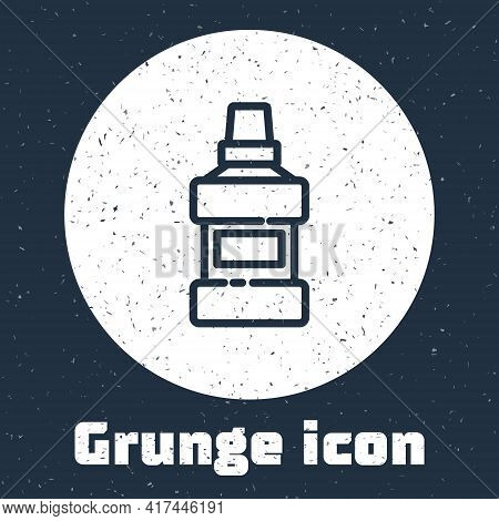 Grunge Line Mouthwash Plastic Bottle And Glass Icon Isolated On Grey Background. Liquid For Rinsing