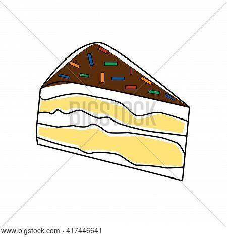 Piece Of Chocolate Cake Slice Birthday Tasty Bake. Vector Illustration Sugar Gourmet Pastry Sweet De