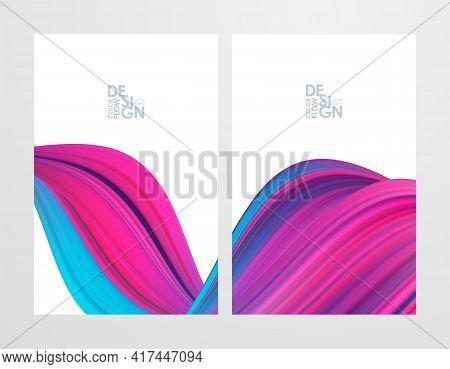 Vector Illustration: Set Of Two Pink Color Flow Poster Backgrounds. Modern Design.