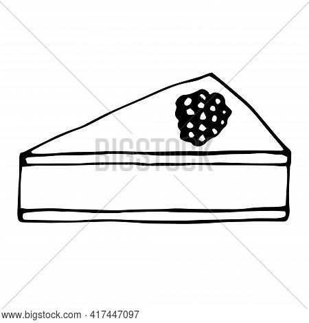 Cheesecake With Raspberry Vector Illustration Doodle Hand Drawn