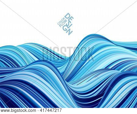 Vector Illustration: Blue Color Paint Flow. Abstract Wave Background.