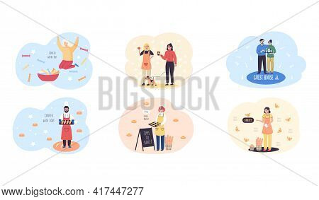 Family Bakery Scenes Set With Happy People Baker Sell Pastries And Coffee. Confectioner With Bread