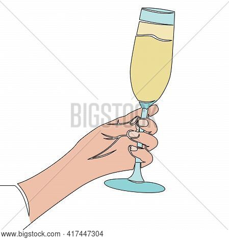 Flat Colorful Continuous Drawing Line Art Toast Pledge Celebration Hand Holds Glass Icon Vector Illu