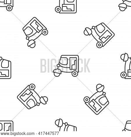 Grey Line Taxi Tuk Tuk Icon Isolated Seamless Pattern On White Background. Indian Auto Rickshaw Conc