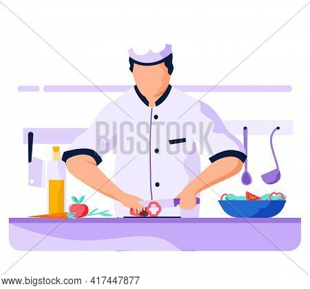 Chef Is Cooking Salad. Cook In Uniform Holding Knife And Cutting Paprika For Healthy Meal