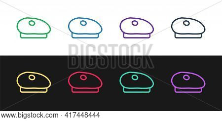 Set Line French Beret Icon Isolated On Black And White Background. Vector