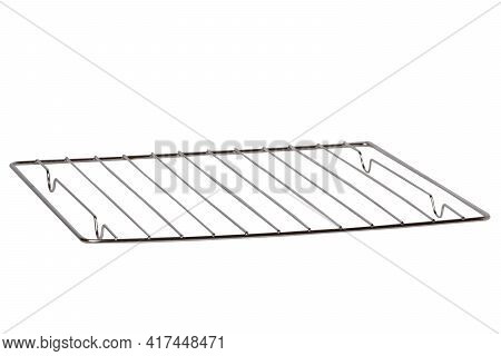 Closeup Of An Empty Metal Rack Or Steel Grid For Grill From The Interior Of The Oven Isolated On A W