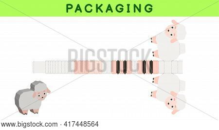 Party Favor Box Die Cut Sheep Design For Sweets, Candies, Small Presents, Bakery. Package Template,
