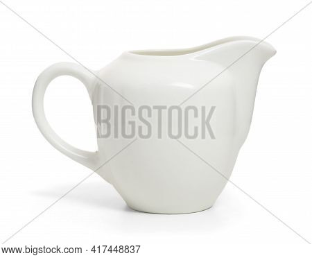 Porcelain Sauce Boat, Pitcher, Creamer Or Ceramic Gravy Boat Isolated On Withe.
