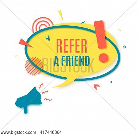 Refer Friend Badge In Paper Cut Style. Referral Program Layered Labels With Loudspeaker. Round Yello