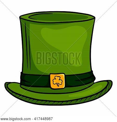 Cylinder Headdress. Irish Top Hat. St.patrick 's Day. Cartoon Style.