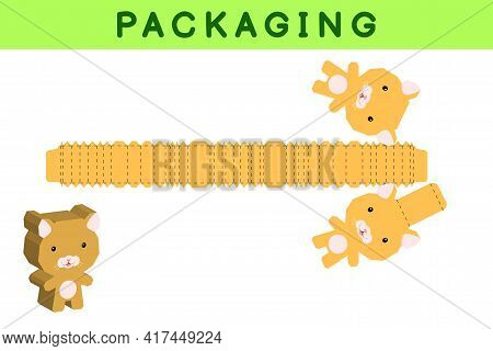 Party Favor Box Die Cut Hamster Design For Sweets, Candies, Small Presents, Bakery. Package Template