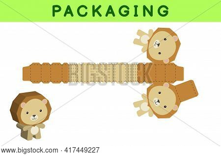 Party Favor Box Die Cut Lion Design For Sweets, Candies, Small Presents, Bakery. Package Template, G