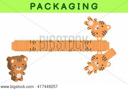 Party Favor Box Die Cut Tiger Design For Sweets, Candies, Small Presents, Bakery. Package Template,