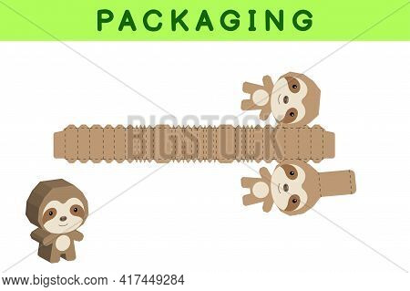 Party Favor Box Die Cut Sloth Design For Sweets, Candies, Small Presents, Bakery. Package Template,