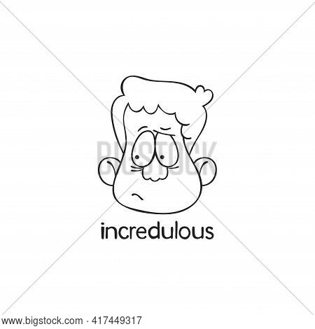 Incredulous. Emotion. Human Face. Cartoon Character. Isolated Vector Object On White Background.