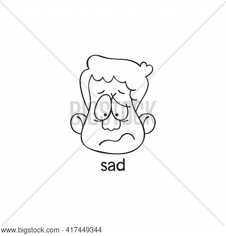 Sad. Emotion. Human Face. Cartoon Character. Isolated Vector Object On White Background.