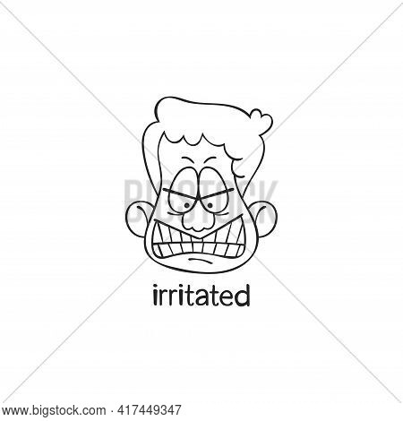 Irritated. Emotion. Human Face. Cartoon Character. Isolated Vector Object On White Background.