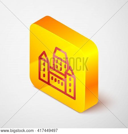 Isometric Line Chateau Frontenac Hotel In Quebec City, Canada Icon Isolated On Grey Background. Yell