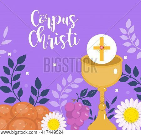 Corpus Christi Catholic Religious Holiday Greeting Card, Template For Your Design. Feast Day, Cross,
