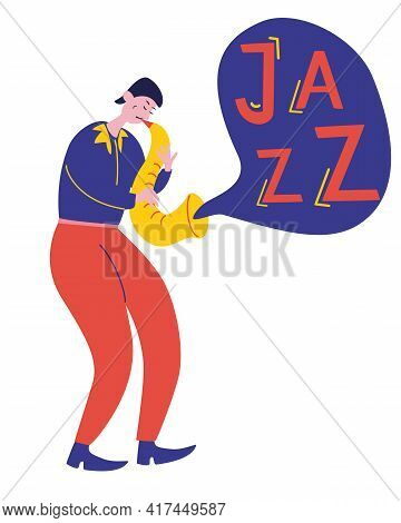 Young Guy Plays The Saxophone Jazz Music. Talented Musician Performance. Saxophone Player Cartoon Ch