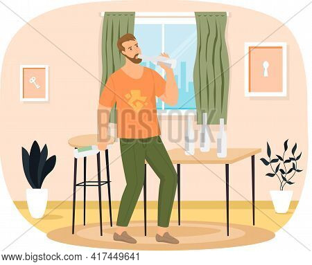 Drunk Man With Vodka Bottles On Table. Addicted Male Character Drinks Alcohol Alone At Home