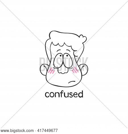 Confused. Emotion. Human Face. Cartoon Character. Isolated Vector Object On White Background.