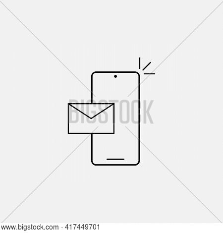 Notification Of A New Email On Your Mobile Phone Or Smartphone. Mail Icon. Vector Flat Line Illustra