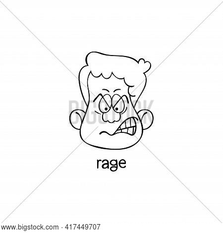 Rage. Emotion. Human Face. Cartoon Character. Isolated Vector Object On White Background.
