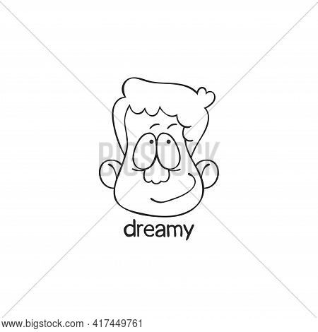 Dreamy. Emotion. Human Face. Cartoon Character. Isolated Vector Object On White Background.